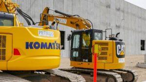 Excavators on site at the Port E construction project.
