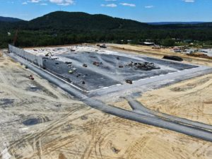 Aerial view of the warehouse construction in progress in East Fishkill, New York.