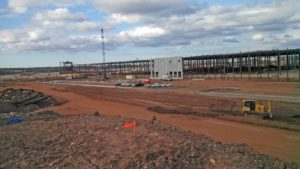 Construction of the Prologis Warehouse with exterior walls being erected.