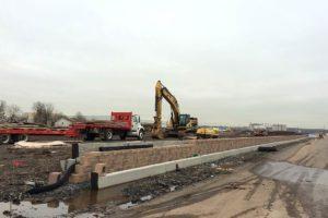 Retaining wall construction.
