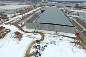 An alternate view of the exterior wall and roof construction of the Prologis warehouse.