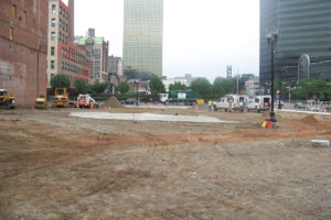 The completed, levelled and graded site at the Prudential Center.