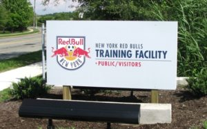 Red Bull Training Facility entrance signage.