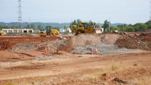 Site levelling and grading at the Rockefeller project in Piscataway, New Jersey.