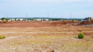 A long perspective shot of the site preparation of the Rockefeller project in Piscataway, New Jersey.