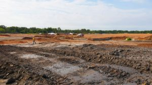 Site grading and preparation at the Rockefeller project in Piscataway, New Jersey.