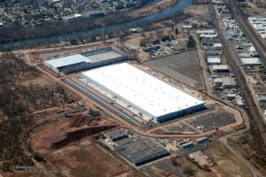 Aerial view of the completed Rockefeller warehouse project in Piscataway, New Jersey.
