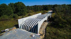 Sailfish construction project with 3/4 overhead view of precast concrete arch bridges