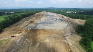 Aerial view of the entire project area being cleared and levelled.