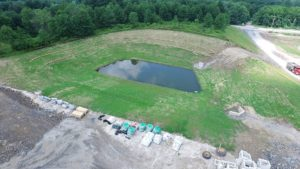 Aerial view of the water retention pond for the Sailfish project.