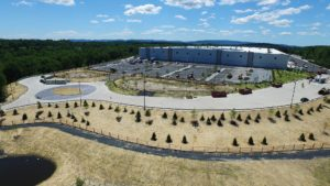 Aerial view from the entrance of the completed Sailfish warehouse in Montgomery, New York.