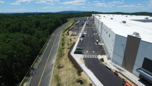 Aerial view of the warehouse parking lot and surrounding driveway.
