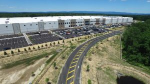 Aerial view of employee parking lot at Sailfish warehouse.