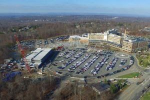 Aerial view of the parking garage construction at St Barnabas Hospital.