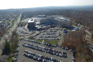 Aerial view of the completed parking lot at St Barnabas Medical Center in Livingston, New Jersey.