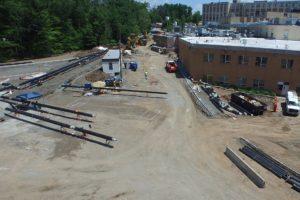 Parking lot curb construction.