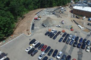 Aerial view of parking lot curb construction.
