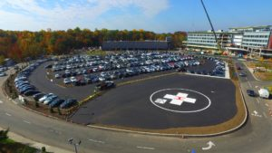 Completed helipad and parking lot.