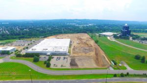 Eastern aerial photo of site levelling and grading of the Stateline Business Park.
