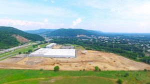 Aerial photo of the site preparation of the Stateline Business Park in Mahwah, New Jersey.