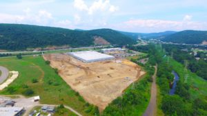 3/4 overhead perspective of the site preparation for the Stateline Business Park in Mahwah, New Jersey.