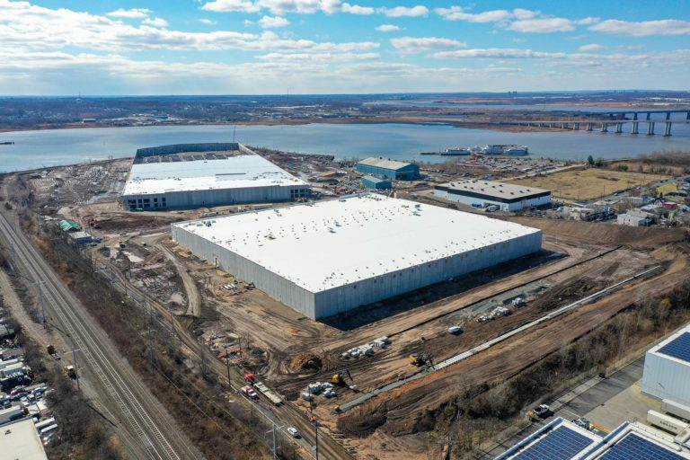 Aerial view of the Steel Run Logistics Warehouses looking toward the river.