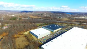 Alternative aerial perspective shot of the completed TWW Tires warehouse project.