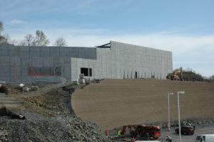 Retaining wall construction in progress.