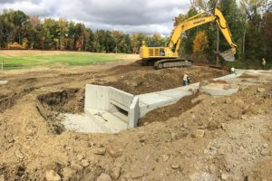 Precast concrete water management system being installed at the Loops.