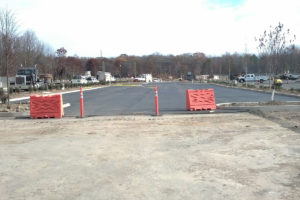 Recently paved parking lot.
