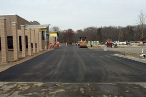 Paving the new Walmart parking lot in Old Bridge, New Jersey.