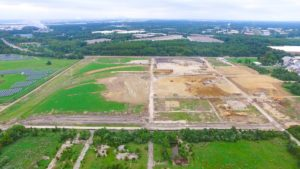 West Deptford Distribution Center aerial photo taken from the North showing site grading.