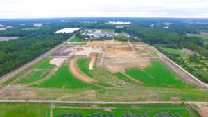 Eastern aerial photo of the site grading and preparation for the construction of the West Deptford Distribution Center.