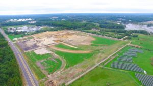 South Eastern overhead photo of the site preparation for the construction of the West Deptford Distribution Center.