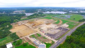 An aerial photo from the South West of the clearing and site preparation for the West Deptford Distribution Center.