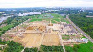 An aerial photo of the construction of the West Deptford Distribution Center taken from the West.