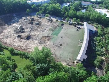 An overhead view of site excavation and grading.