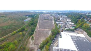 Aerial image of groundwork completed on the FedEx Distribution Center in North Arlington, New Jersey.