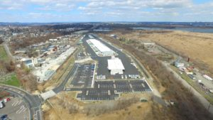Completed FedEx Distribution Center aerial view looking North.
