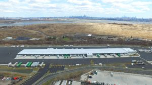 Completed FedEx Distribution Center aerial view looking East.