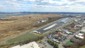 Finished FedEx Distribution Center aerial view looking towards Manhattan.