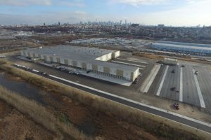 Aerial view of the loading docks at the FedEx Distribution Center in Jersey City.