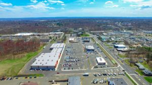 SouthEastern aerial perspective of the Hanover Crossroads parking lot and shopping mall.
