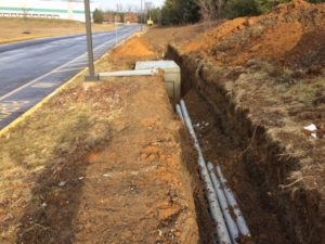 Water distribution ditch for Interstate Boulevard Phase 1 project.