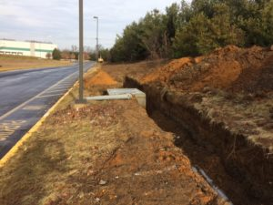 Water management ditch and culvert for Interstate Boulevard Phase 1 project.