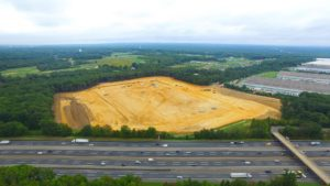 Overlooking the site excavation from the Interstate.