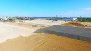 Land development with clean back fill at Port E in Elizabeth, New Jersey.