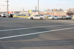 Completed, paved intersection at Sip Ave