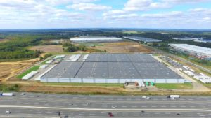 Completed Station Road warehouse project view overlooking New Jersey turnpike.